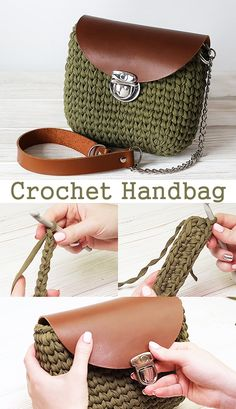 This bag is very easy to crochet. Learn how to make this wonderful handbag with t-shirt yarn and leather., Crochet Handbag / Bag / Purse This bag is very easy to crochet. Learn how to make this wonderful handbag with t-shirt yarn and leather. Bag Crochet, Crochet Handbags, Crochet Purses, Crochet Crafts, Crochet Projects, Knitting Projects, Free Crochet, Sewing Projects, Diy Projects