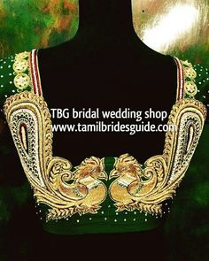 18 new ideas south indian bridal saree gold blouse designs Asian Bridal Wear, Indian Bridal Makeup, Bridal Hair And Makeup, Bridal Beauty, Bridal Accessories, Bridal Jewelry, Gold Jewellery, Bridal Shoes, Jewellery Designs