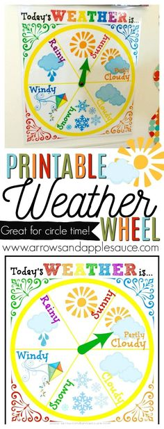 We're learning about the weather with this fun and colorful weather wheel! Perfect for circle time and it looks great on our calendar wall. Weather Activities for Kids Preschool At Home, Preschool Science, Preschool Learning, Kindergarten Activities, Circle Time Ideas For Preschool, Kindergarten Circle Time, Teaching, Calendar Wall, Calendar Time