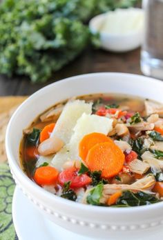 Kale, Chicken & White Bean Soup with Parmesan Shavings