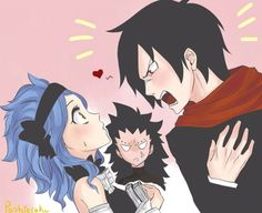 Rogue: I am your son from the future mother!!!  Gajeel: He has to be kidding me right? That whimp is my son? Levy: Your mine and Gajeel's son? *Is all surprised*