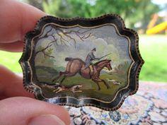Dollhouse Miniatures ~ Natasha Beshenkovsky Painted Hunt Scene Tray Table ~ 1995