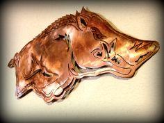 Copper Arkansas Razorback Sign