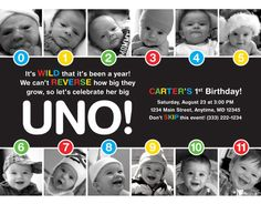 UNO Timeline First Birthday Invitation by HelloBabyInvitations  ADORABLE for an UNO themed first Birthday party.