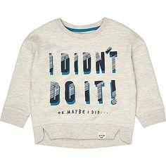 Mini boys beige slogan sweatshirt - baby boys tops - mini boys - boys