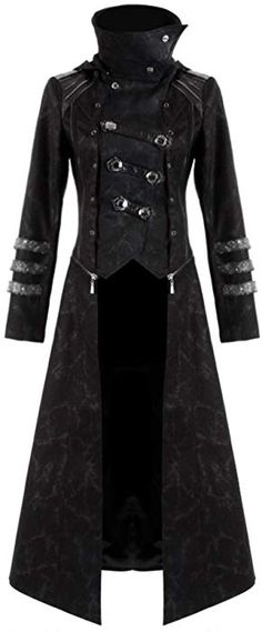Punk Rave Scorpion Mens Coat Long Jacket Black Gothic Steampunk Hooded Trench Moda Steampunk, Steampunk Jacket, Gothic Steampunk, Steampunk Fashion, Scarecrow Mask, Langer Mantel, Leather Armor, Punk Rave, Long Jackets