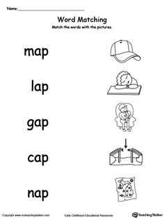 **FREE** AP Word Family Picture and Word Match Worksheet.Topics: Word Families, Reading, and Phonics. English Worksheets For Kindergarten, Kindergarten Learning, Phonics Worksheets, Reading Worksheets, Preschool Curriculum, Teaching, Learning English For Kids, English Lessons For Kids, English Class