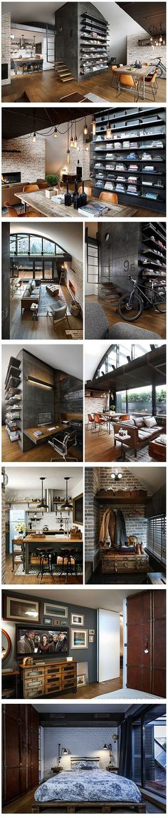 Love this industrial looking apartment!