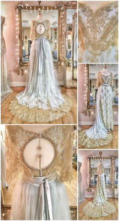 Gold lace pale blue silk beaded wedding dress with cape sleeves and cut-out back embellished with beaded tassel; gilded French lace over silver silk satin dresses blue accent Gold Lace Pale Blue Silk Beaded Wedding Dress with feature back Vestidos Vintage, Vintage Dresses, Bridal Gowns, Wedding Gowns, Lace Wedding, 2017 Wedding, Fantasy Gowns, Gold Lace, Blue Lace
