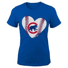 Chicago Cubs Youth Girls Crew Neck T-Shirt 6X, Kids Unisex, Size: Large, Blue