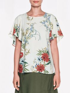 Veronika Maine: Forest Flowers Ruffle Sleeve Top