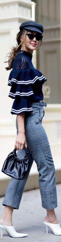 Women's fashion - blue ruffle top