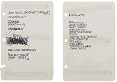 This Is Jean-Michel Basquiat's Resume circa 1980. He was 20 years old at the time.