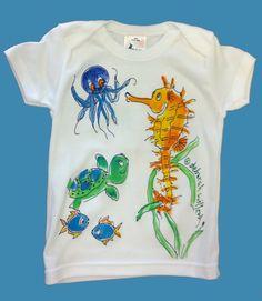Handpainted Seahorse EnvelopeNeck Tshirt by DeborahWillardDesign, $22.00