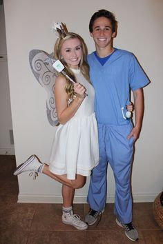 tooth fairy & dentist - Another! Tooth Fairy Halloween Costume, Tooth Fairy Costumes, Cute Couple Halloween Costumes, Halloween Outfits, Cool Costumes, Costumes For Women, Halloween Party, College Couple Costumes, Costume Ideas