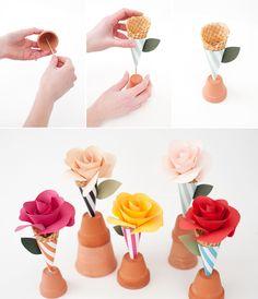 Paper Flower Cone Bouquets