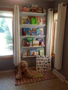 Wall of books for the nursery