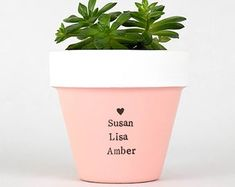 Modern personalized eco-friendly plant pots & by ChickadeePots Plant Pots, Succulent Pots, Planting Succulents, Potted Plants, Thank You Teacher Gifts, Teacher Christmas Gifts, Teacher Appreciation Gifts, Garden Gifts, Gifts For Family