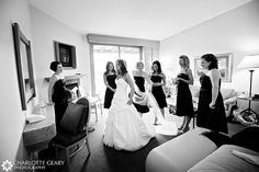 Bride and bridesmaids getting ready by Charlotte Geary Photography, via Flickr