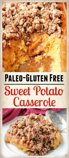 This Paleo Sweet Potato Casserole is the perfect Thanksgiving side dish., Food And Drinks, This Paleo Sweet Potato Casserole is the perfect Thanksgiving side dish. Smooth, creamy sweet potatoes with a sweet crunchy pecan topping that is glut. Paleo Sweet Potato Casserole, Sweet Potato Recipes, Sweet Potato Mash Paleo, Paleo Casserole Recipes, Paleo Thanksgiving, Thanksgiving Side Dishes, Thanksgiving Drinks, Thanksgiving Stuffing, Paleo Dessert
