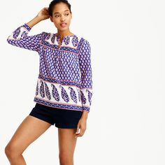 Petite mixed paisley top : AllProducts   J.Crew