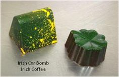 Oh boy...just in time for St Patty's Day, handcrafted chocolates that fit perfectly! Anyone up for an Irish Car Bomb (aka The Irish) and an Irish Coffee? Layers of creamy ganache inside super dark chocolate with Jameson's, Bailey's and Guinness in The Irish.  And just like the traditional Irish Coffee, this chocolate is top o' the morn'! Two creamy ganache layers of deliciousness...an espresso and Jameson's Irish Whiskey in dark chocolate
