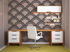 Decals on a single wall for a real visual pop and a twist on the standard accent wall.  Art Deco pattern, $70 for 5 rows of 23x97-inch decals; danadecals.com.