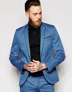 Noose & Monkey Suit Jacket With Contrast Piping In Skinny Fit BLUE Chest 40 in