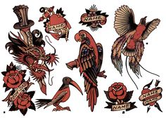 Sailor Jerry, Flash Sheet, T Shirt Design. Vulture Graffix Online Mail order T Shirts, Printed from $9.35US + Postage to anywhere in the world. Mix and Match, as many designs as you want, all on the same T shirt for the same low price!! #Sailor #Jerry #Tattoo #Flash #TShirt #Vulture #Graffix #Psychobilly #Punk #Rockabilly #Retro  #Clothes #TShirts