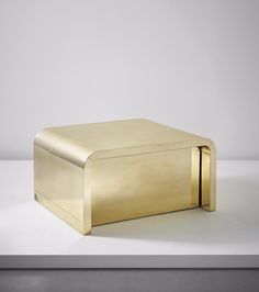 """Gabriella Crespi; Brass-over-Wood """"U Series' Coffee Table with Retractable Bar, 1970s."""