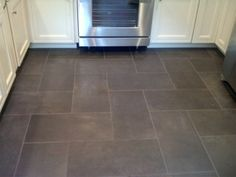 new Kitchen floor tile: Slate like ceramic floor - I like the pattern and the size/shape/color Kitchen Floor Tile Patterns, Slate Floor Kitchen, Kitchen Redo, Kitchen Tiles, New Kitchen, 12x24 Tile Patterns, Tile Layout Patterns, Wood Floor, Kitchen Styling