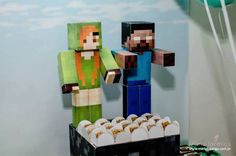 Minecraft Characters from a Minecraft Birthday Party via Kara's Party Ideas