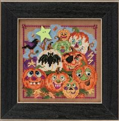Mill Hill Painted Pumpkins - Beaded Cross Stitch Kit. Kit Includes: Beads, ceramic button, perforated paper, floss, needles, chart and instructions. Finished si