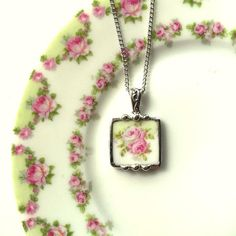 Broken china jewelry pendant necklace pink roses with mint green made from a broken plate