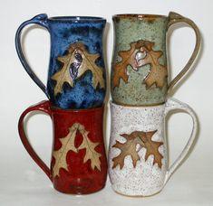Oak Leaf Mug with Acorns by PoplarRidgePottery on Etsy