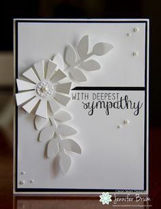 handmade sympathy card from Ladybug Designs ... white with black bat and ink ... die cut flower ... pearls ... like the layout ...