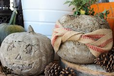 How to make Concrete Pumpkins by The Wood Grain Cottage. #DIY