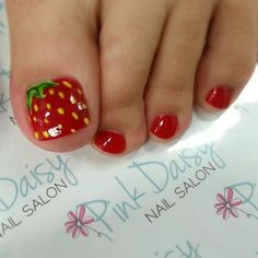 Strawberry toes! Pedicure at Pink Daisy Nail Salon