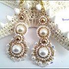 Metallic Gold White Pearl Swarovski Crystal Beaded Wedding Earrings