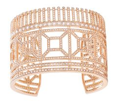 Boucheron Quatre Radiant Edition cuff bracelet with pavé brown diamonds set in pink gold.