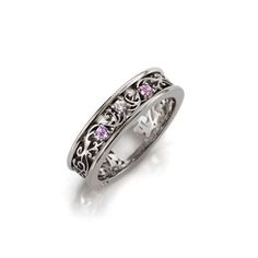 Pink sapphire and diamond filigree ring white by TorkkeliJewellery