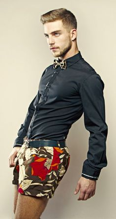 Loud Pants! I love this floral shorts print contrasted with subdued but strong button up. Men's Fashion Spring-summer 2015