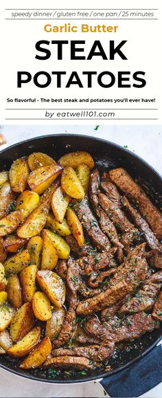 Garlic Butter Steak and Potatoes Skillet - recipe - This easy one-pan recipe is SO simple, and SO flavorful. The best steak and potatoes you'll ever have! Garlic Butter Steak and Potatoes Skilletrecipe onepan - recipe by One Pan Meals, Easy Meals, One Skillet Meals, Potato Recipes, Chicken Recipes, Meat And Potatoes Recipes, Speedy Dinners, Steak Potatoes, Butter Potatoes