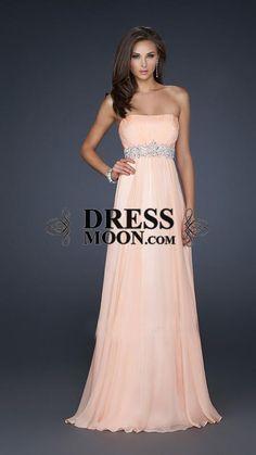 A-Line Strapless Floor-Length Chiffon Long Prom Dress