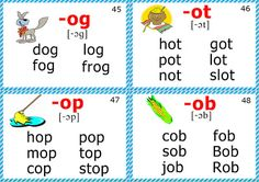 English for Kids Step by Step: Phonics Cards (Short O Sound) Phonics Chart, Phonics Flashcards, Phonics Rules, Phonics Words, Phonics Activities, Jolly Phonics, English Phonics, Teaching English, Phonics Reading