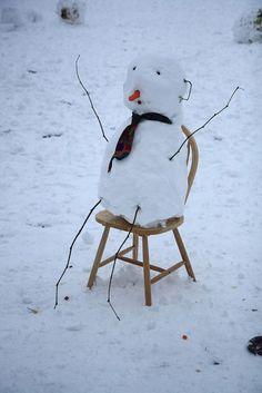 "Sitting snowman..looks like he's sitting in a ""Time-out chair"" ;-)"