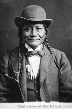 CHIEF ATCHEE OF THE UTE INDIANS photographed here dressed in White attire. (forced assimilation).