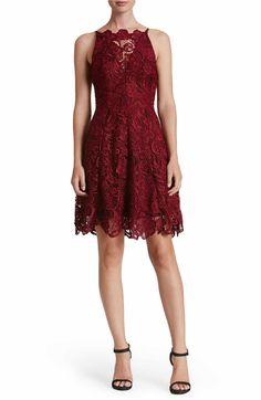 Main Image - Dress the Population 'Hayden' Lace Fit & Flare Dress