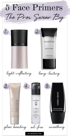 Primers do all sorts of things: they fill in fine lines, make pores disappear and even diffuses light to make skin look more glowing and radiant.To get the scoop on the best face primers in the industry, we consulted with five top makeup artists for their go-to picks; look here to see if your favorite made the list.