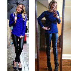 Cobalt blue sweater + leather leggings // target style